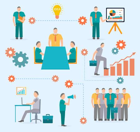 command structure: Business start idea template. Start up idea. Teamwork concept in flat design