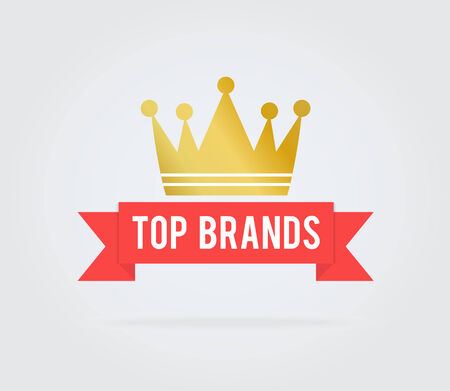 Blank top brand card tag with red ribbon and crown Vector
