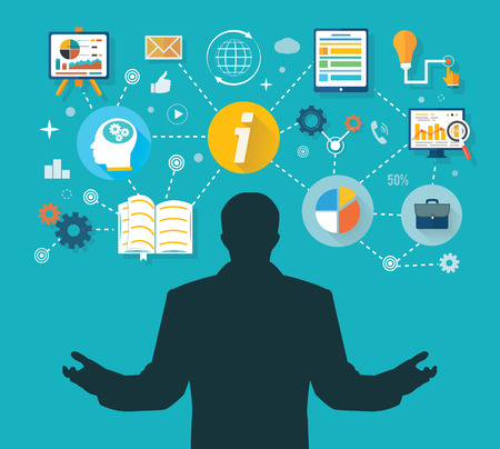 Business man and colorful icons. Businessman with touch screen icons. Winner in business administration and management time Vector
