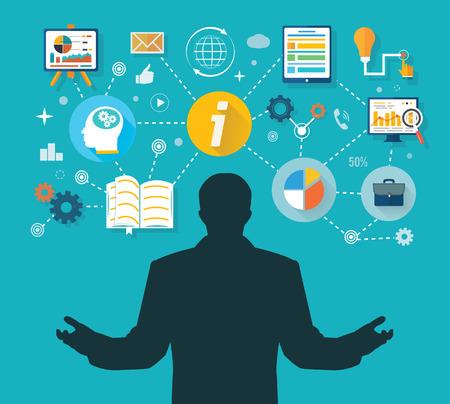 administración del tiempo: Hombre de negocios y los iconos de colores. Hombre de negocios con iconos de la pantalla táctil. Ganador en administración de empresas y gestión del tiempo Vectores