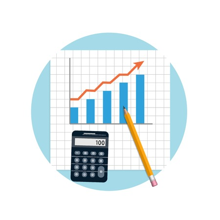 financial figures: Accounting. Financial planning with calculator and pencil in flat design style