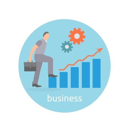 Concept of success and determination in business. Businessman step up to top of success arrow in flat design style Vector