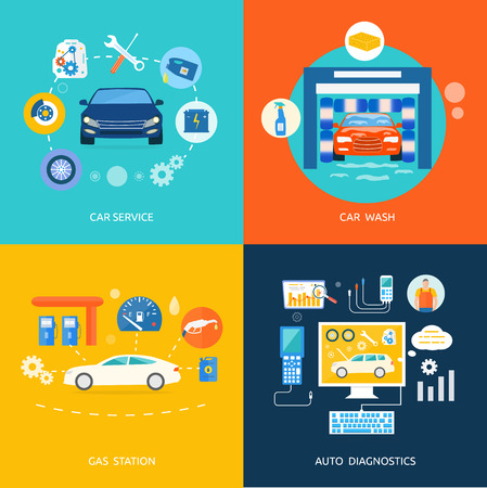 wheel change: Auto mechanic service flat icons of maintenance car repair. Set of car wash best clean non stop auto service infographic design elements. Gas fuel station car oil petrol auto service concept. Car service car wash gas station auto diagnostics