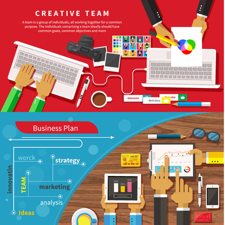 swot: Team of designers working together on a computer. Creative team. Business plan with creative businessman showing positive growth in flat design style Illustration