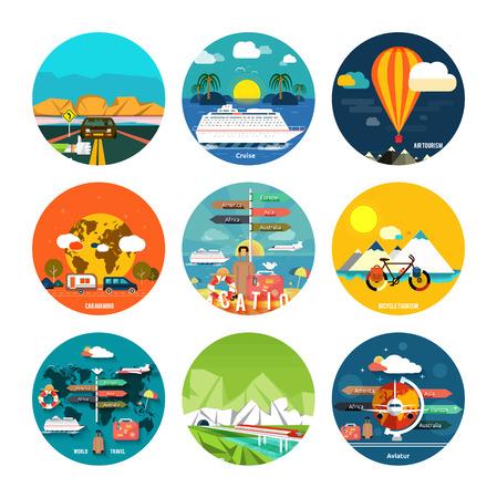 business travel: Icons Set von Reisen, planen einen Sommerurlaub, Tourismus und Reise Objekte, per Anhalter und Passagiergep�ck in flacher Bauform. Verschiedene Arten von Reisen. Gesch�ftsreisen Konzept