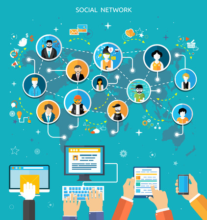 Social media network connection concept. People in a social network. Concept for social network in flat design. Globe with many different peoples faces Çizim