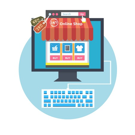 Internet shopping process. Business online sale icons. Poster concept with icons of buying product via online shop and e-commerce and shopping elements in flat design Vector