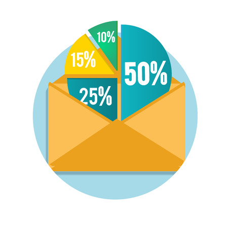 Open envelope with business pie chart for documents and reports for documents, reports, graph, infographic, business plan Vector