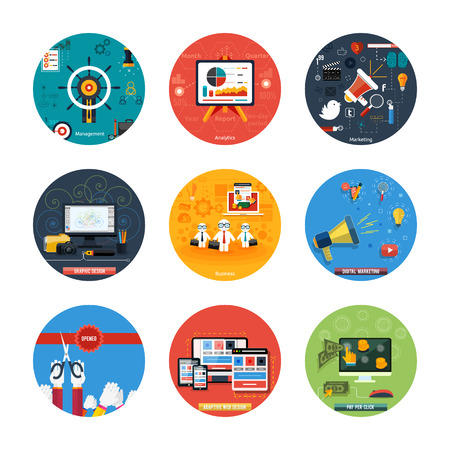 Icons for web design, seo, social media and pay per click internet advertising, analytics, business, management, marketing, adaptive design, digital marketing  in flat design Illustration