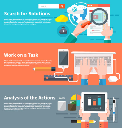 hands solution: Search for solutions infographic. Concept of businessman using mobile phone for internet browsing, email correspondence and other business task. Analytics information and process of development