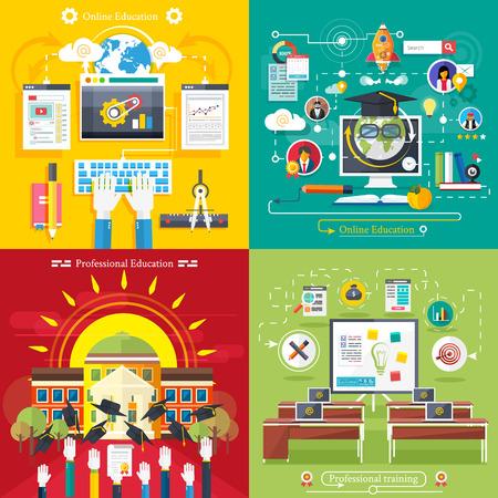 educaci�n en l�nea: Fije los iconos de la educaci�n, la educaci�n en l�nea, educaci�n profesional en el estilo de dise�o plano