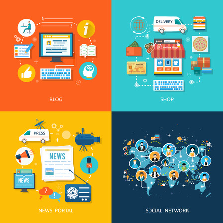 shop icons: Social media and network connection concept. On line store. Sale, laptop and smart phone with awning. Journalism including news, reporter, camera, accreditation in flat design style Illustration