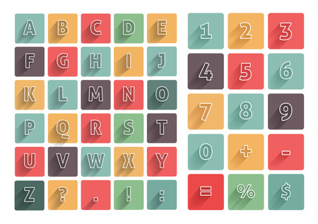 alphabet blocks: Flat alphabet A-Z icons multicolor set with long shadow. Calculator mathematics numbers Illustration