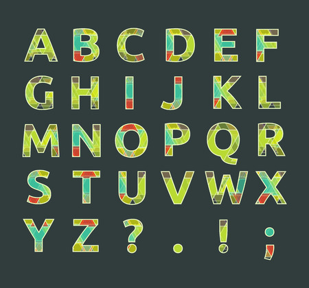 Creative spectral alphabet of geometric paper color on black background Vector