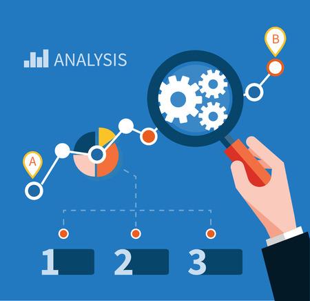 점에 초점을 맞추고 돋보기와 성장 차트. 인포 그래픽 배너 단계를 반복합니다. 성공과 금융 성장을 나타내는. 평면 디자인 스타일의 그래픽 분석