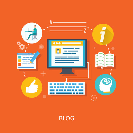 Blogging concept in flat design style. Blogging and writing for website blog  イラスト・ベクター素材