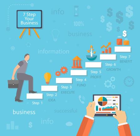 subiendo escaleras: Empresario subiendo. Hombre de negocios con el caso se eleva a la parte superior de las escaleras paso. 7 pasos idea texto execute beneficio crecimiento estilo diseño plano fondo de lucro Vectores