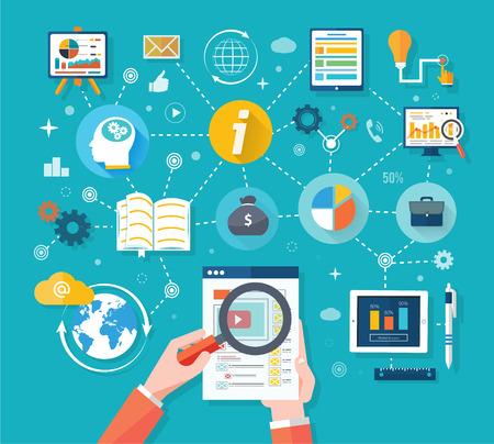 site Web Analytics graphiques sur écran de PC. SEO Search Engine Optimization programmation affaires des statistiques sur les tendances infographie schéma dans un style design plat. Lien entre la stratégie des systèmes d'information et la stratégie d'entreprise