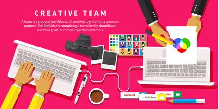 creative: Creative team. Young design team working at desk in creative office flat design style