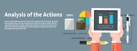 Analysis actions. Concept of businessman using mobile phone for analytics information and process of development in flat design style Vector