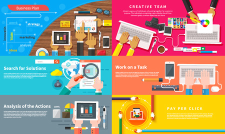 pay desk: Creative team. Young design team working at desk. Business plan strategy with touchscreen presentation. Search for solutions infographics. Businessman working on notebook with different task. Analysis actions. Pay per click