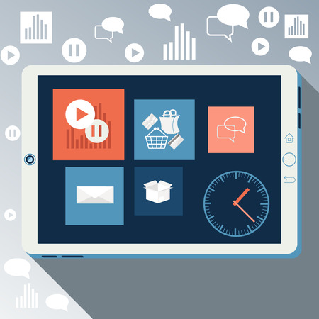 E-Business concept, computers, smartphone pc with graphs and internet shopping business news in device in flat design style Vector