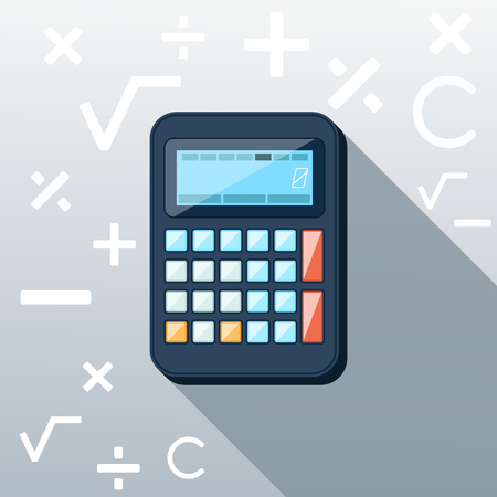 construction background: Calculator icon with mathematical symbols multiplication division plus minus construction background in the root flat design long shadow style