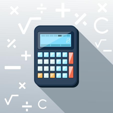 Calculatrice icône avec la division de la multiplication des symboles mathématiques plus minus construction fond dans le style de longue ombre design plat racine