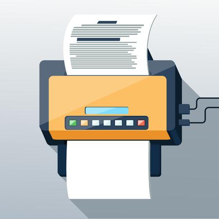 icono fax: Icono de Fax con la p�gina de papel en dise�o plano estilo larga sombra. Icono web y aplicaciones m�viles de trabajo de oficina