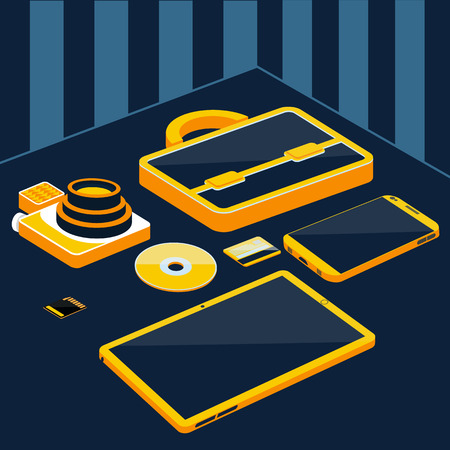 smartphone business: Briefcase camera smartphone tablet sd memory card bank card on table 3D flat design cartoon style. Business concept