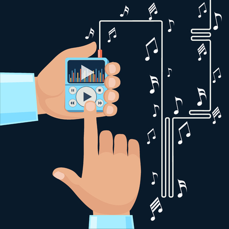 touchphone: Playing music in Mp3 player hands on background with notes. Finger presses button play flat design cartoon style. Touchphone with connected headphones