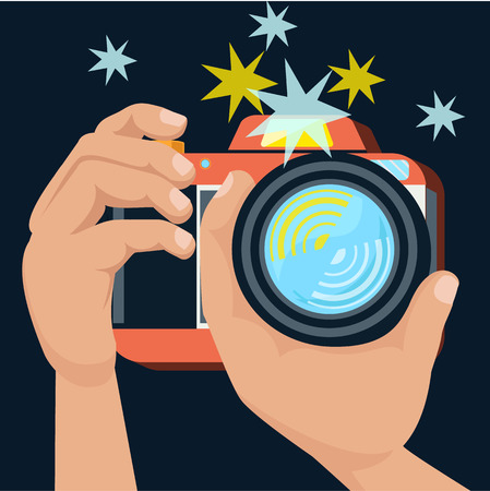 Hands holding camera and photographs in flat design cartoon retro style