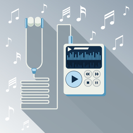 mp3 player: Playing music in white Mp3 player long shadow on background with notes flat design cartoon style. Touchphone with connected headphones