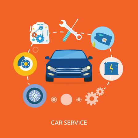 자동차 정비공 서비스 유지 보수 자동차 수리의 평면 아이콘. 자동 서비스 개념. 자동차 서비스 진단. 컴퓨터는 자동차 전자와의 통신에 사용되는 일러스트