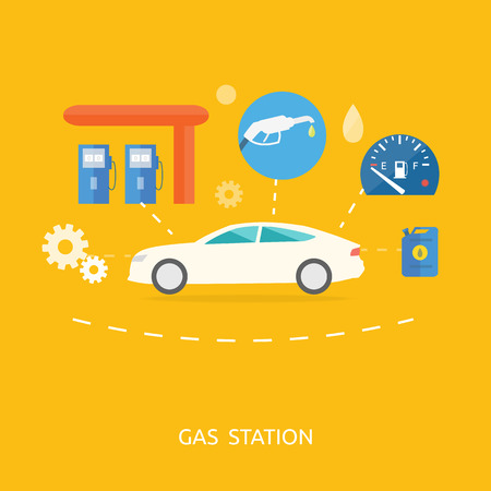 fueling: Car in gas station. Fuel petrol dispenser pump handles and pillars. Fueling in flat design style