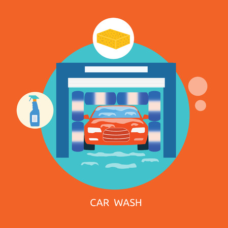 Business concept flat icons of car wash best clean non stop auto service infographic design elements Vector