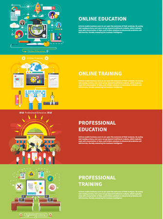 professional: Set icons for education, online education, professional education in flat design style