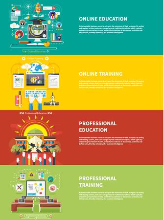 Set pictogrammen voor het onderwijs, online onderwijs, beroepsonderwijs in flat design stijl Stock Illustratie