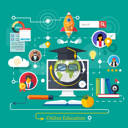 marketing online: Set icons for education, online education, professional education in flat design style
