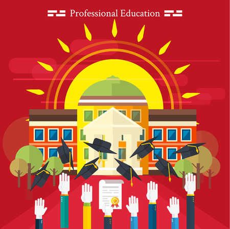 Set icons for education, online education, professional education in flat design style Vector