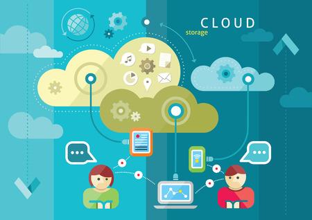 meseros: La computación en nube concepto de internet con una gran cantidad de descargas de usuarios de teléfonos inteligentes tableta iconos del monitor computadora de escritorio de estilo de dibujos animados diseño plano