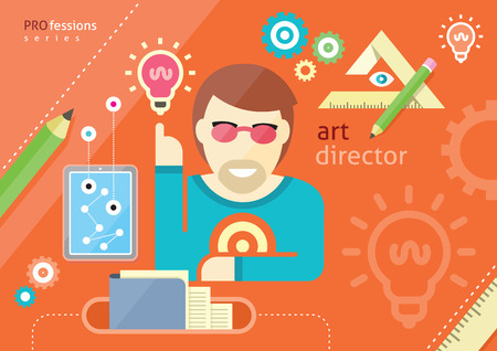employee development: Creative people design occupations art director employment designer profession flat design cartoon style