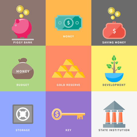 coin box: Money icons in flat design style on multicolor background. Different item icons such as dollar money tree purse coin box pig bank Illustration
