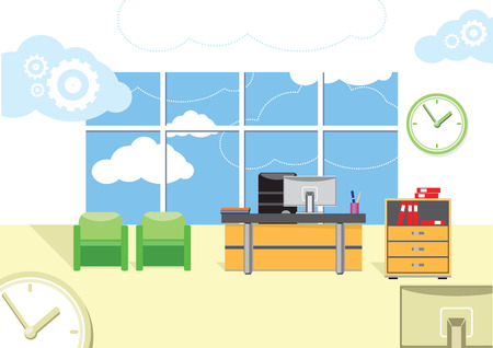Intérieur de bureaux moderne avec bureau design dans la conception plat. Espace de travail moderne des affaires dans le bureau avec fenêtre Banque d'images - 32045197