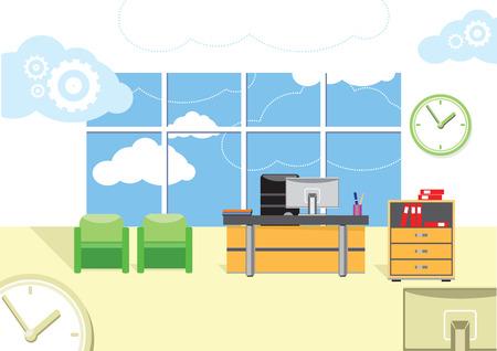 Moderner Büroinnenraum mit Designer-Desktop in flacher Bauform. Moderne Business-Arbeitsplatz im Büro mit Fenster Standard-Bild - 32045197