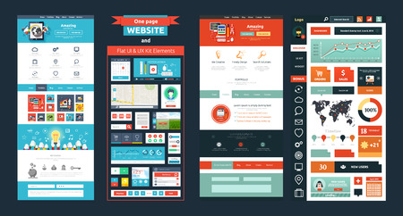 Website pagina sjabloon. Webdesign. Set van web-pagina met pictogrammen voor verschillende websites vlakke stijl. Een pagina website plat UI en UX kit elementenpictogrammen