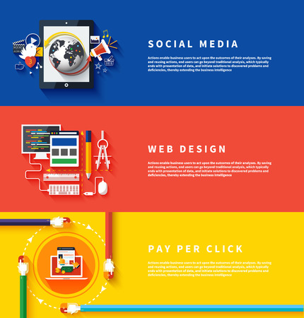 Pictogrammen voor webdesign, seo, social media en pay per click reclame op het internet in platte design. Zaken, kantoor en marketing artikelen iconen. Stock Illustratie