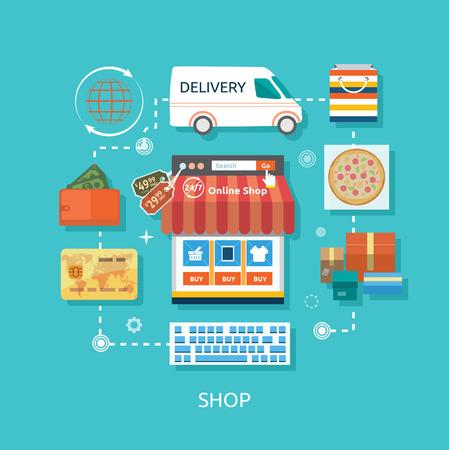 carport: Internet shopping concept smartphone with awning of buying products via online shop store e-commerce ideas e-commerce symbols sale elements on stylish background Illustration