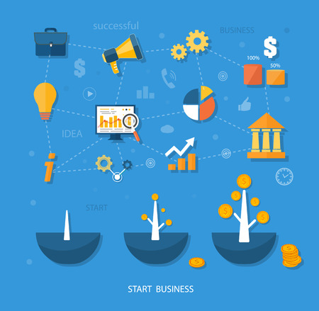 tree linked: Business start infographics template. Scheme with linked, icons and gears. Tree with coins money grows flat design style