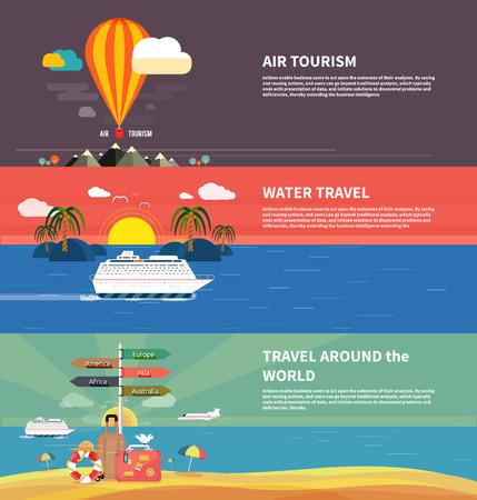flying boat: Iconos de establecen de viaje, planificaci�n de unas vacaciones de verano, el turismo y los objetos de viaje y equipaje de los pasajeros en dise�o plano. Los diferentes tipos de viajes. Concepto de viajes de negocios Vectores